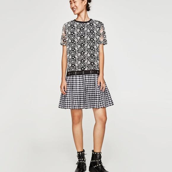 c9870f34 Zara Dresses | Checked Crochet Lace Pleated Dress7901276 | Poshmark